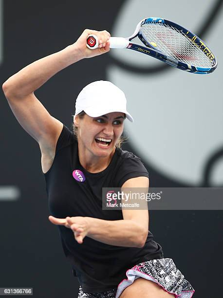 Monica Niculescu of Romania plays a forehand in her second round match against Kirsten Flipkens of Belgium during day one of the 2017 Hobart...