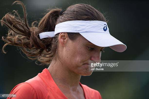 Monica Niculescu of Romania reacts during her match against Ana Konjuh of Croatia at Nottingham Tennis Centre on June 15 2015 in Nottingham England