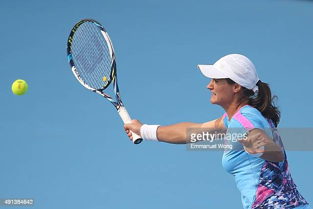Monica Niculescu of Romania returns a ball against Samantha Stosur of Australiaduring the day three of the 2015 China Open at the China National...