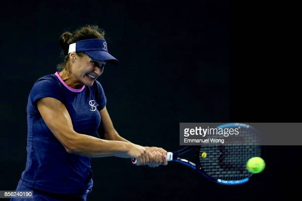 Monica Niculescu of Romania returns a shot against Johanna Konta of Great Britan on day two of the 2017 China Open at the China National Tennis...