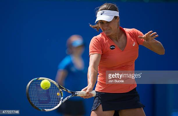 Monica Niculescu of Romania returns a shot during her match against Ana Konjuh of Croatia at Nottingham Tennis Centre on June 15 2015 in Nottingham...