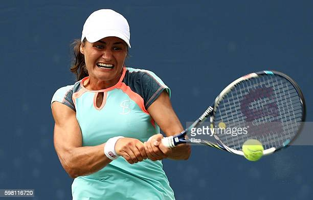 Monica Niculescu of Romania returns a shot to Ana Bogdan of Romania during her second round Women's Singles match on Day Three of the 2016 US Open at...