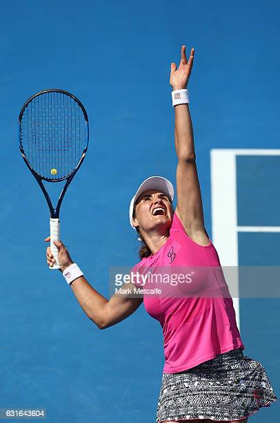 Monica Niculescu of Romania serves in her final match against Elise Mertens of Belgium during the 2017 Hobart International at Domain Tennis Centre...