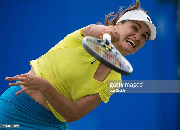 Monica Niculescu of Romania serves the ball during her match against Johanna Konta of Great Britain at Nottingham Tennis Centre on June 12 2015 in...