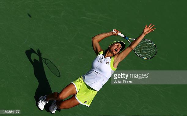 Monica Niculescu of Romania serves to Maria Kirilenko of Russia during day one of the WTA Dubai Duty Free Tennis Championship on February 20 2012 in...