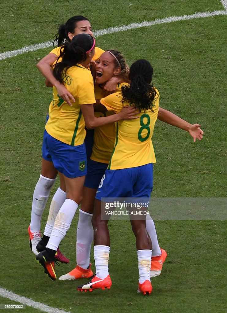 Monica of Brazil celebrates after scoring against China during the Rio 2016 Olympic Games womens first round Group E football match Brazil vs China...