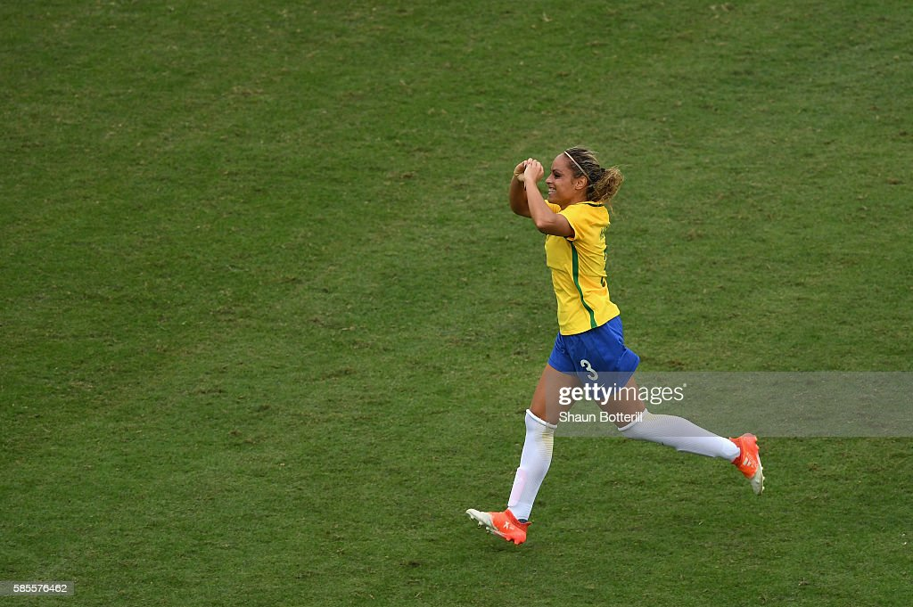 Monica of Brazil celebrates as she scores their first goal during the Women's Group E first round match between Brazil and China PR during the Rio...