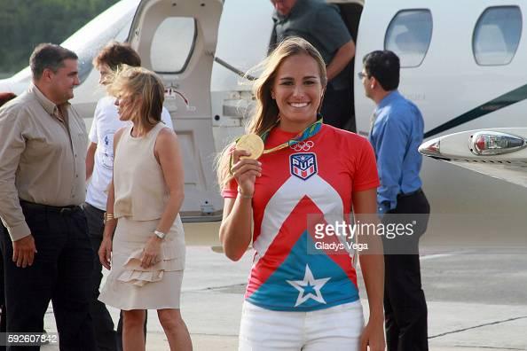 Monica Puig arrives at Luis Munoz Marin International Airport on August 20 2016 in San Juan Puerto Rico
