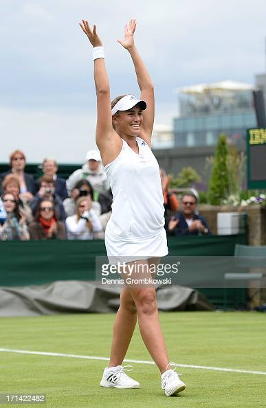 Monica Puig of Puerto Rico celebrates match point during her Ladies' Singles first round match against Sara Errani of Italy on day one of the...