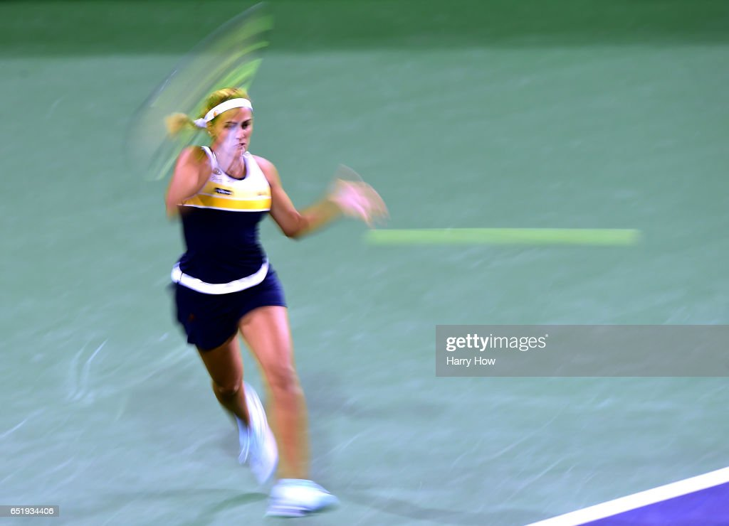 Monica Puig of Puerto Rico hits a forehand in her losing match to Karolina Pliskova of the Czech Republic at Indian Wells Tennis Garden on March 10, 2017 in Indian Wells, California.