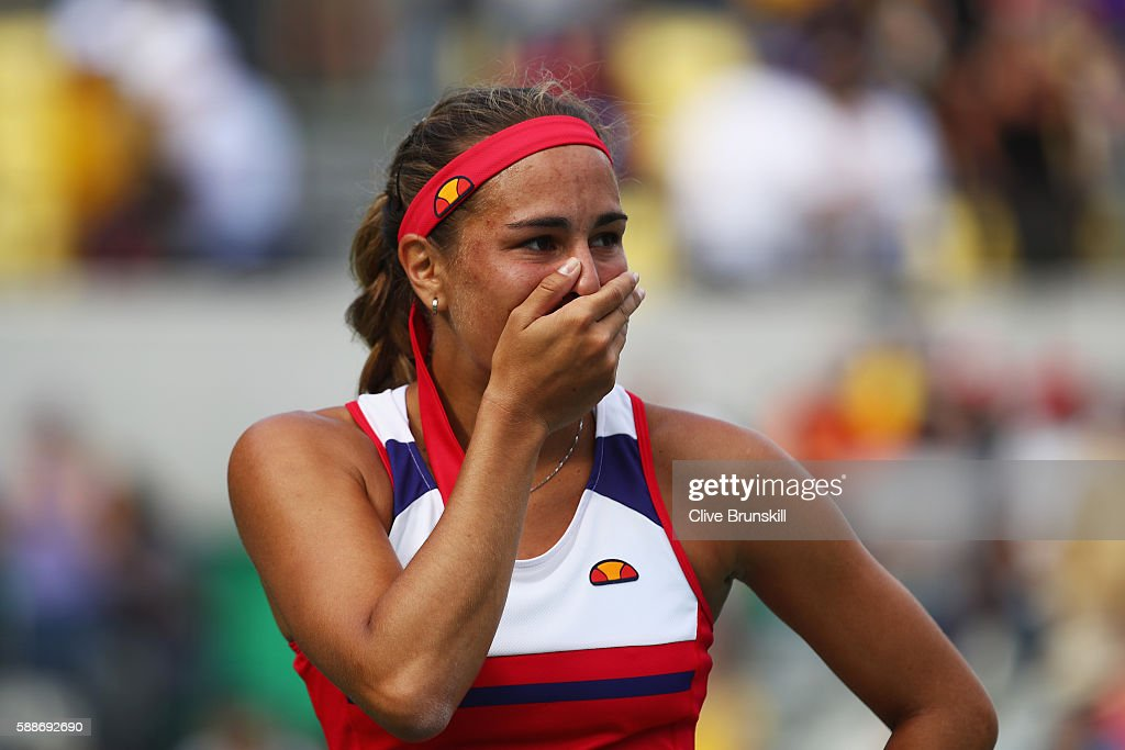 Monica Puig of Puerto Rico reacts after defeating Petra Kvitova of the Czech Republic during the Women's Singles Semifinal on Day 7 of the Rio 2016 Olympic Games at the Olympic Tennis Centre on August 12, 2016 in Rio de Janeiro, Brazil.