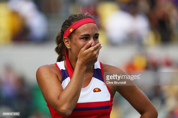Monica Puig of Puerto Rico reacts after defeating Petra Kvitova of the Czech Republic during the Women's Singles Semifinal on Day 7 of the Rio 2016...