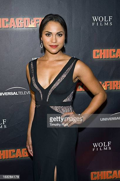 Monica Raymund attends NBC's 'Chicago Fire' premiere at the Chicago History Museum on October 2 2012 in Chicago Illinois