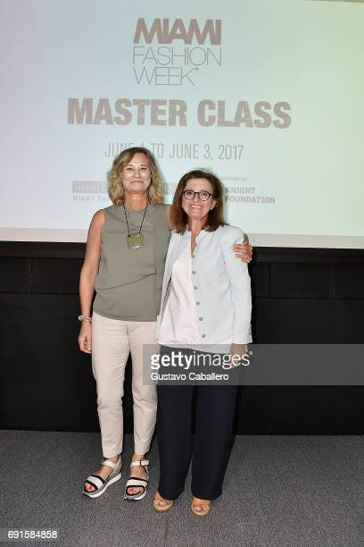 Monica Sanchez Robles and creative director of DesignLab Miami Angie Cohen attend the Miami Fashion Week Master Classes at Miami Dade College on June...