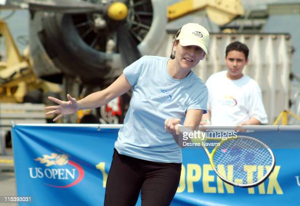 Monica Seles during Monica Seles and Mary Joe Fernandez Join NYC Kids for the Debut of Blue Tennis Court and Tennis Tips on The Intrepid at Intrepid...