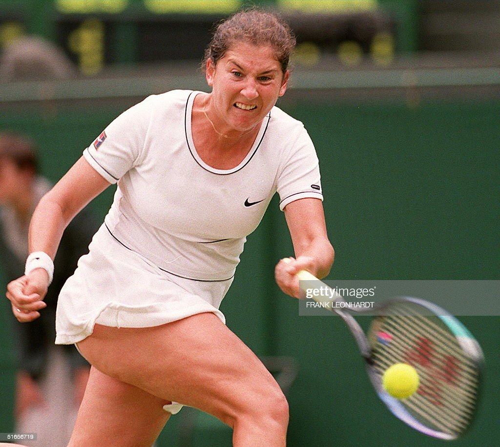US Monica Seles hits the ball 29 June during her m