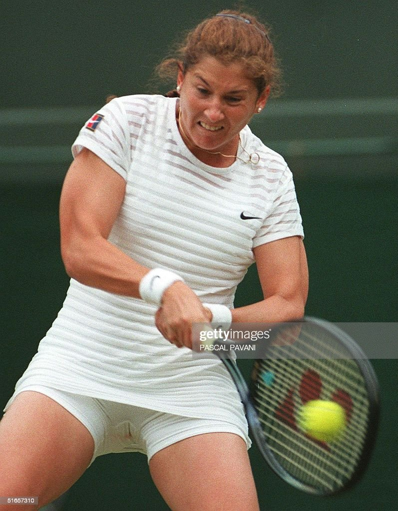 Monica Seles of the USA in action during her la