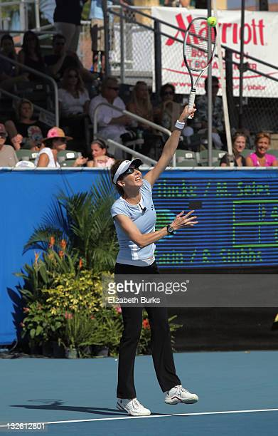 Monica Seles participates in the Chris Evert/Raymond James ProCelebrity Tennis Classic at Delray Beach Tennis Center on November 12 2011 in Delray...