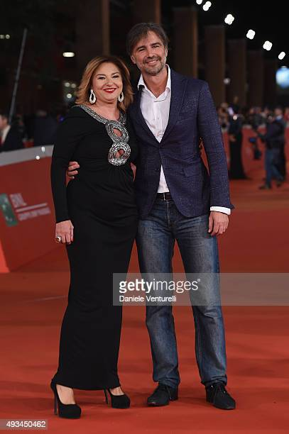 Monica Setta and Beppe Convertini attend a red carpet for 'VilleMarie' during the 10th Rome Film Fest on October 20 2015 in Rome Italy