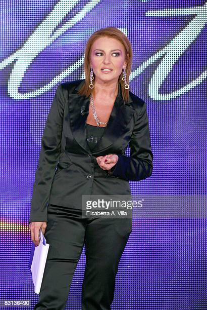 Monica Setta attends the Italian Television Show 'Domenica In' held at RAI Studios on October 5 2008 in Rome Italy