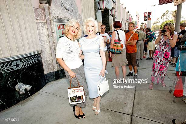 Monica Shahri and Memory Monroe Marilyn Monroe lookalike's attend the Marilyn Monroe 50th Anniversary Memorial at The Hollywood Museum on August 2...
