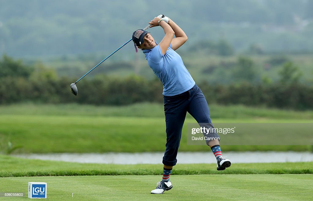 Monica Vaughn of the United States loses her balance playing her tee shot on the 14th hole which finished a long way down the fairway during the...