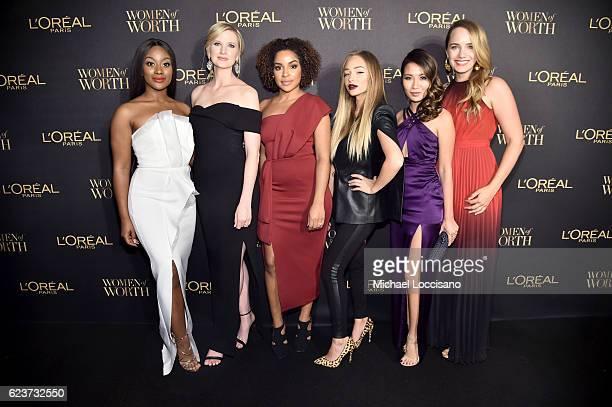 Monica Veloz Ashley Brooke Chambers Stephanie Lee Liza Lash Wendy Nguyen and Grace Atwood attend the L'Oreal Paris Women of Worth Celebration 2016...