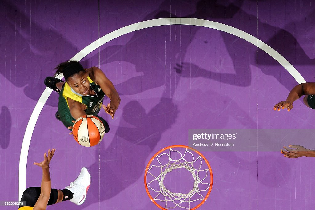 Monica Wright #22 of Seattle Storm goes for the layup during the game against the Los Angeles Sparks on May 15, 2016 at Staples Center in Los Angeles, California.