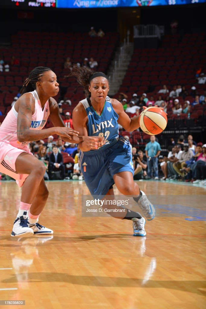 Monica Wright #22 of the Minnesota Lynx drives against the New York Liberty during the game on August 27, 2013 at Prudential Center in Newark, New Jersey.
