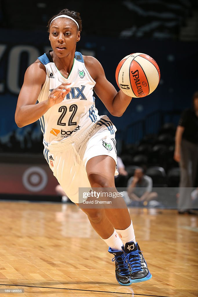 Monica Wright #22 of the Minnesota Lynx drives in during the WNBA pre-season game against Connecticut Sun on May 21, 2013 at Target Center in Minneapolis, Minnesota.