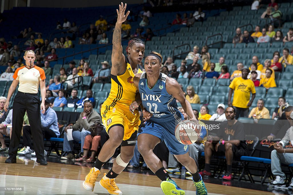 Monica Wright #22 of the Minnesota Lynx drives to the basket against the Tulsa Shock during the WNBA game on June 14, 2013 at the BOK Center in Tulsa, Oklahoma.