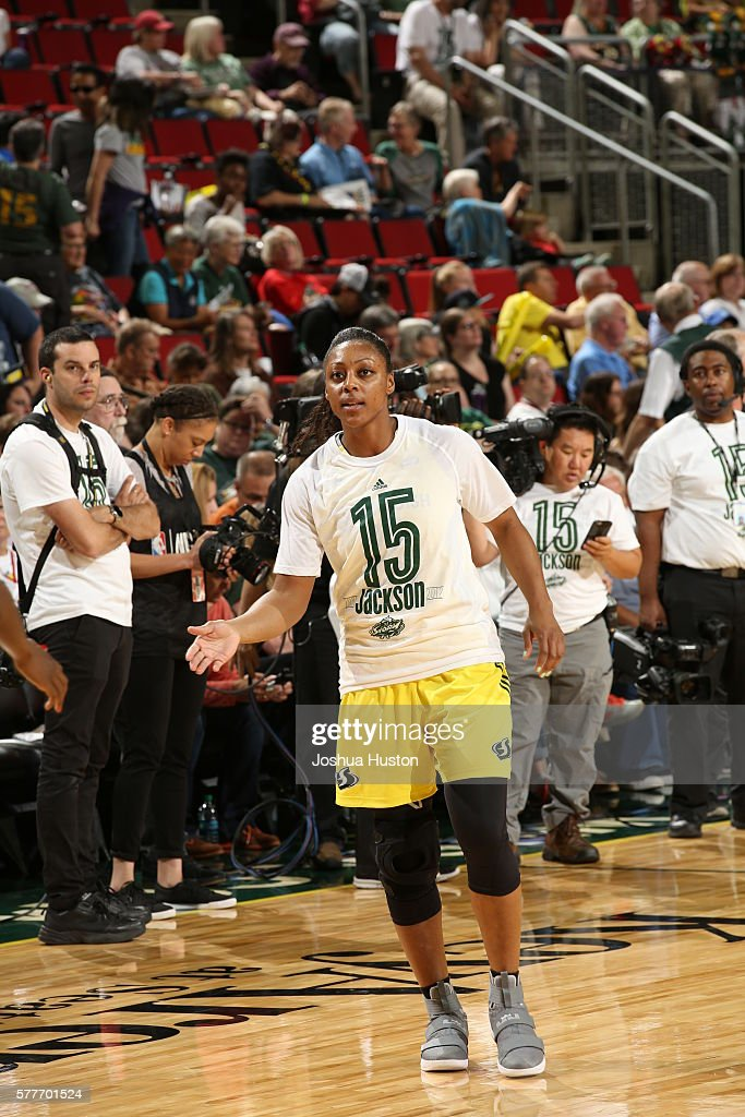 Monica Wright #22 of the Seattle Storm gets introduced before the game against the Washington Mystics on July 15 at Key Arena in Seattle, Washington.