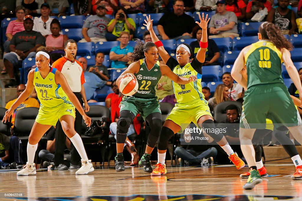 Monica Wright #22 of the Seattle Storm handles the ball against the Dallas Wings on June 16, 2016 at College Park Center in Arlington, Texas.