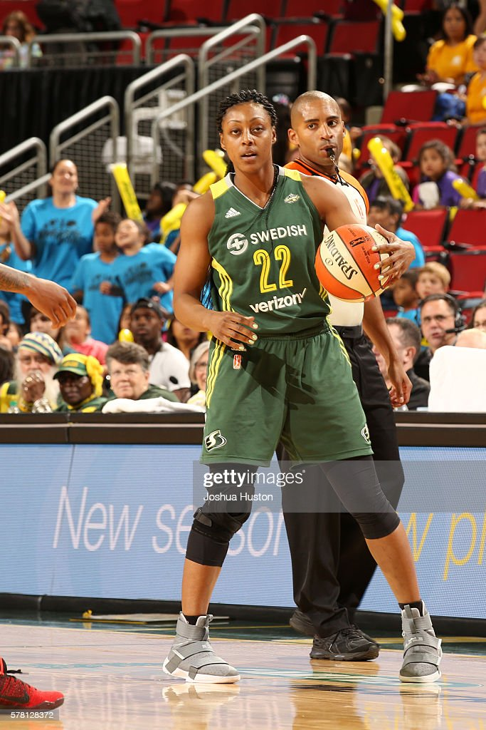 Monica Wright #22 of the Seattle Storm handles the ball against the San Antonio Stars on July 20 at Key Arena in Seattle, Washington.