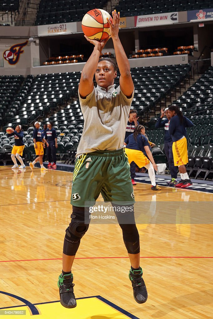 Monica Wright #22 of the Seattle Storm warms up before the game against the Indiana Fever on June 12, 2016 at Bankers Life Fieldhouse in Indianapolis, Indiana.