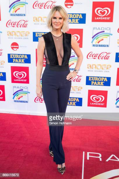 Monics Ivancan wearing a jumpsuit by Galvan attends the Radio Regenbogen Award 2017 at Europapark on April 7 2017 in Rust Germany