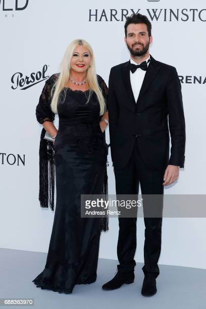 Monika Bacardi and Andrea Lervolino arrive at the amfAR Gala Cannes 2017 at Hotel du CapEdenRoc on May 25 2017 in Cap d'Antibes France