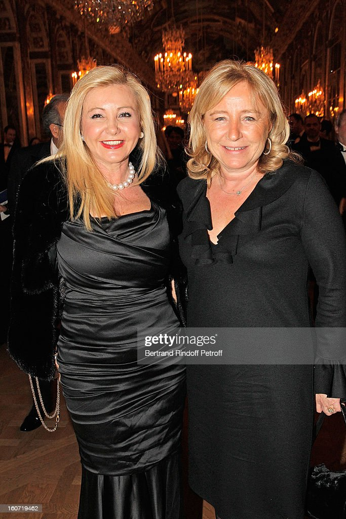 Monika Bacardi (L) and Florence Pinault attends the gala dinner of Professor David Khayat's association 'AVEC', at Chateau de Versailles on February 4, 2013 in Versailles, France.
