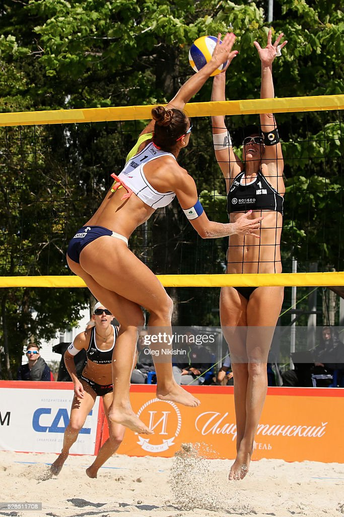 Monika Brzostek of Poland and Barbara Hansel of Austria duel at the net during 3d day of FIVB Sochi Open presented by VTB on May 5, 2016 in Sochi, Russia.