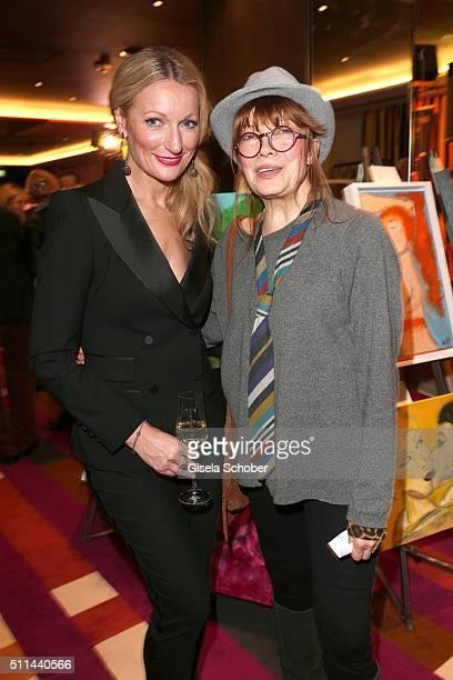 Monika Gruber and Katja Ebstein during the 'Christine Neubauer Hautnah' exhibition opening at Hotel Vier Jahreszeiten on February 20 2016 in Munich...