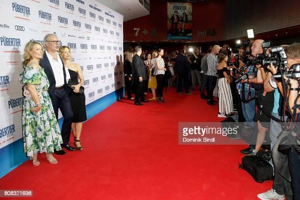 Monika Gruber Detlev Buck Leander Haußmann and Heike Makatsch during the premiere of ''Das Pubertier'' at Mathaeser Filmpalast on July 4 2017 in...