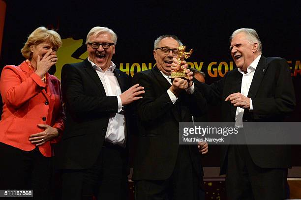 Monika Gruetters FrankWalter Steinmeier Dieter Kosslick and Michael Ballhaus attend the 'Hommage For Michael Ballhaus' during the 66th Berlinale...
