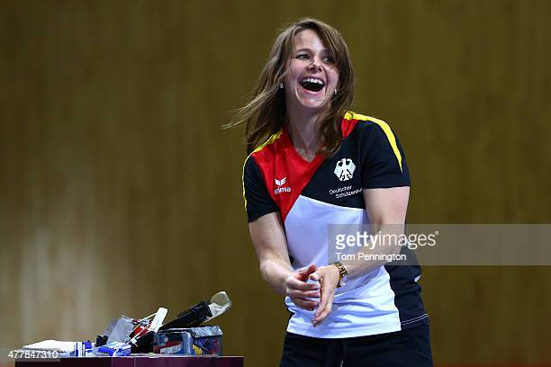 Monika Karsch of Germany celebrates winning the bronze during the Women's Pistol Shooting 25m final on day eight of the Baku 2015 European Games at...