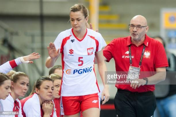 Monika Michalow of Poland and Leszek Krowicki head coach of Poland during IHF Women's Handball World Championship group B match between Argentina and...