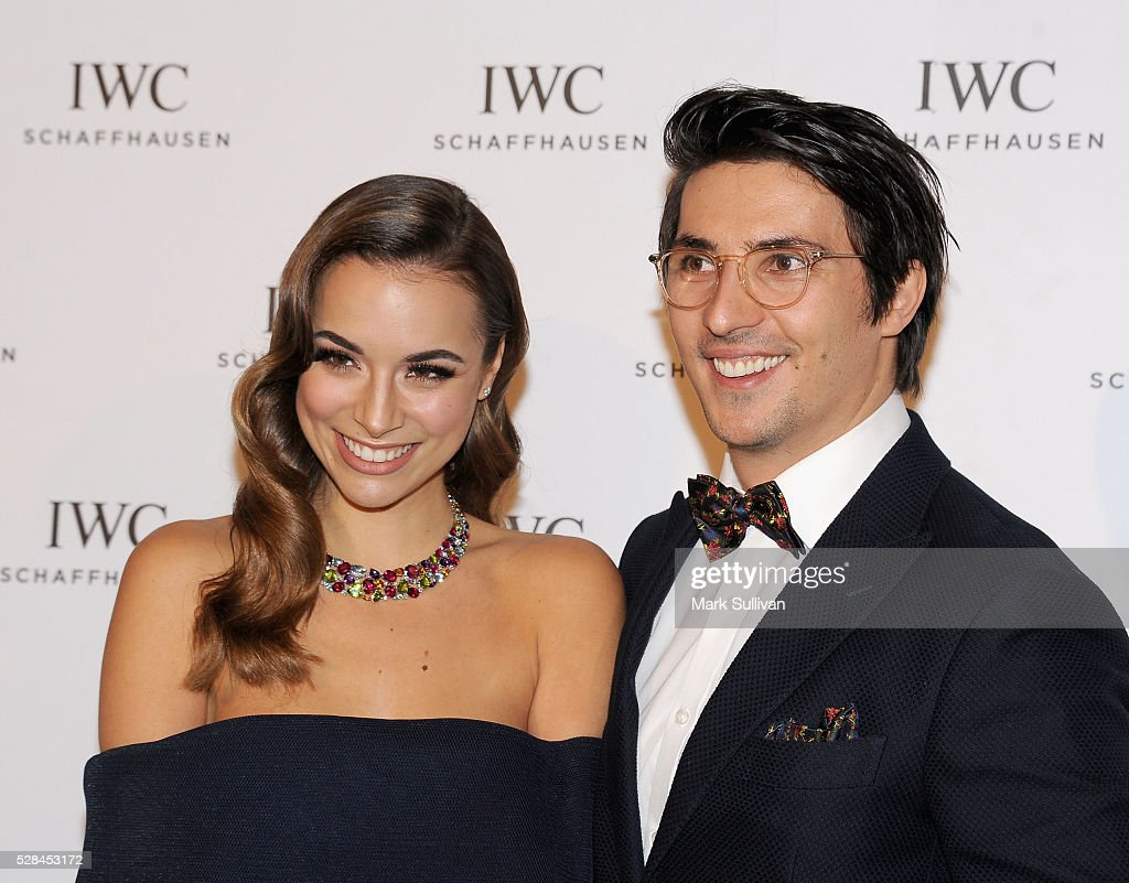 Monika Radulovic (L) and fiance Alesandro Ljubicic attend the launch of IWC Schaffhausen's pilots watch launch at Sydney Theatre Company on May 5, 2016 in Sydney, Australia.