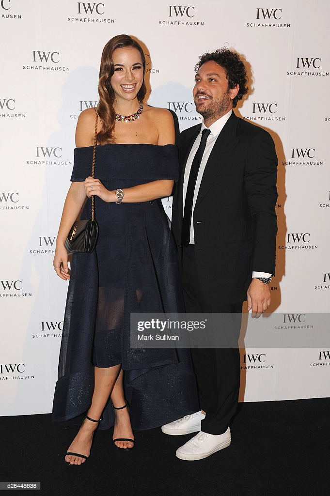 Monika Radulovic (L) and Jonathan Marthelmess attend the lauch of IWC Schaffhausen's pilots watch launch at Sydney Theatre Company on May 5, 2016 in Sydney, Australia.