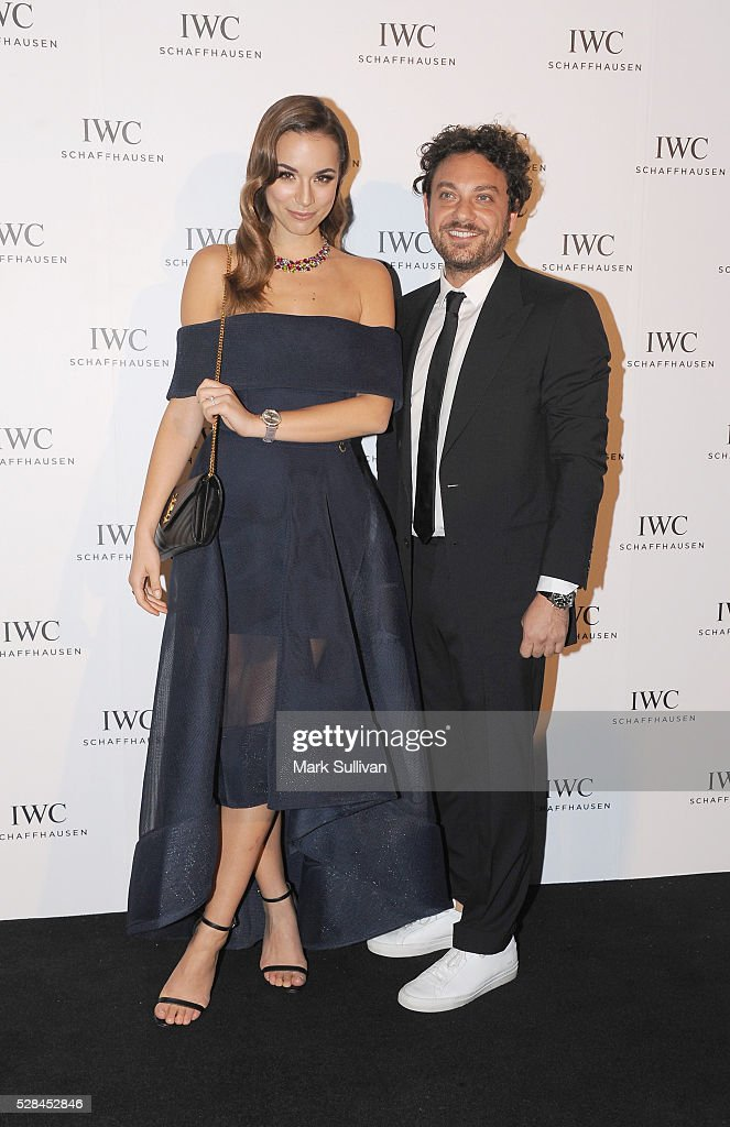 Monika Radulovic (L) and Jonathan Marthelmess attend the launch of IWC Schaffhausen's pilots watch launch at Sydney Theatre Company on May 5, 2016 in Sydney, Australia.