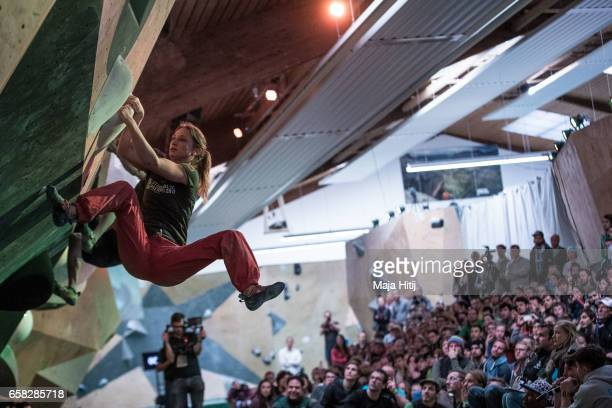 Monika Retschy of Germany during women finals of bouldering event Studio Bloc Masters 2017 on March 26 2017 in Pfungstadt Germany