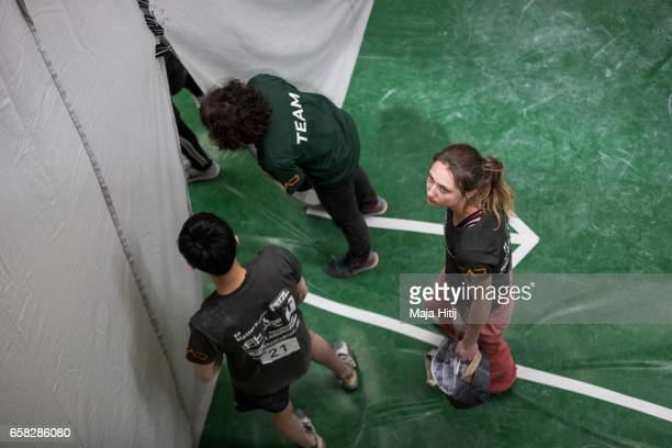 Monika Retschy of Germany waits in isolation room during finals of bouldering event Studio Bloc Masters 2017 on March 26 2017 in Pfungstadt Germany