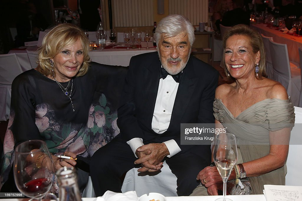 Monique Adorf and her husband Mario Adorf and Marie Waldburg attend the Germany Filmball 2013 on January 19, 2013 in Munich, Germany.